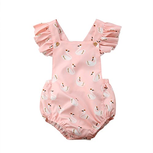 BiggerStore Cute Baby Girl Swan Print Ruffle Sleeve Blackless Bubble Romper Jumpsuit (Pink, 6-12 Months)