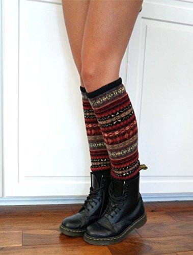 Scrunched Legs - Nordic Pattern Alpine Snowflake Leg Warmers --Cozy Multi-Tone Printed Leg Warmers/ Boot Socks/ Doc Martens (Black with Multi Colored)