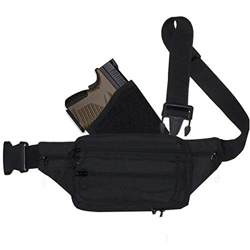 Fanny Pack Holster. Tactical Pistol Pack for Concealed Carry. This Black Nylon Fanny Pack for Guns has numerous Compartments with an Adjustable and Removable Holster (Small)