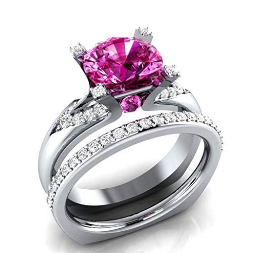 - WUAI Fashion Women Rings Round Cut Luxury Diamond White Sapphire Wedding Engagement Ring Ladies Gifts Ideas