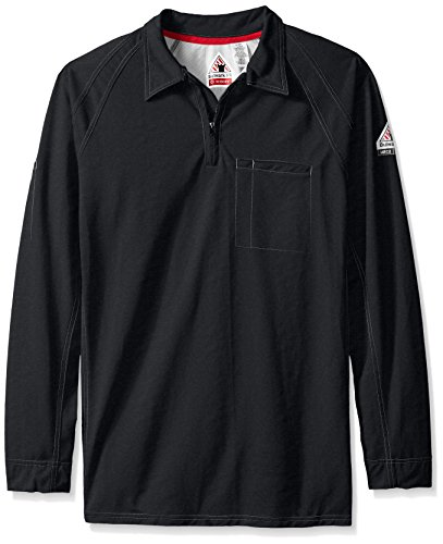 Bulwark Men's Big and Tall Iq Series Long Sleeve Comfort Knit Polo, Black, 3X-Large
