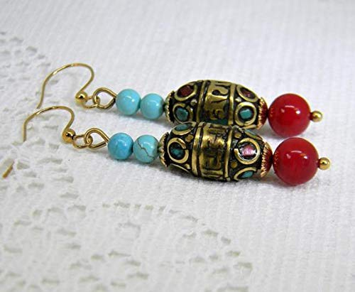 TALI Tibetan Brass Earrings, Tibetan Brass Beads with Red/Turquoise Colors, Red Coral and Magnesite Turquoise Stones, Natural Brass Ear ()