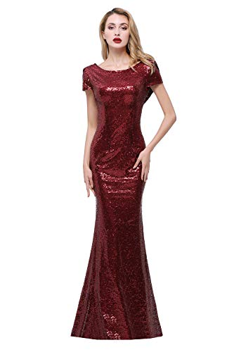 Sparkly Burgundy Sequined Bridesmaid Dresses Modest Mermaid Long Prom Evening Gowns,6,Burgundy