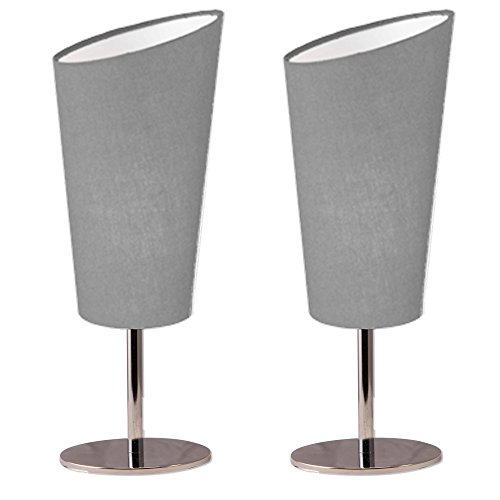 Lightaccents Table Lamp Set Chrome Base with Fabric Modern Grey Shade (Set of 2) (Contemporary Cone Accent Light)