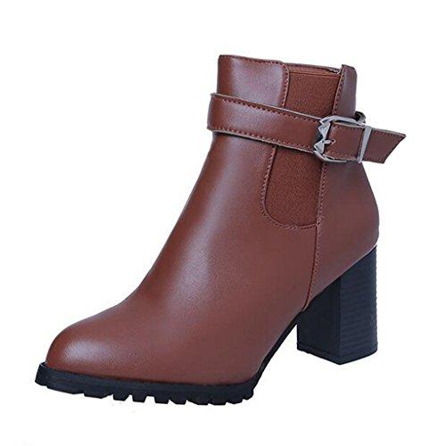 Binying Women's High-Top Block Heel Zip Chelsea Boots Brown zWC0Q