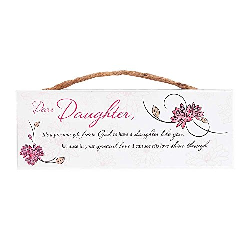 Dicksons Dear Daughter Special Love Pink Blossom 8 x 3 Wood Jute Hanger Wall Sign Plaque ()
