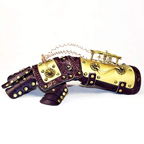 AUSWIEI Gold Arm Mechanical Style Glove with Horologe Gears Cosplay Costume Steampunk Props Accessories Arm Guard Armour (Color : Mittens)