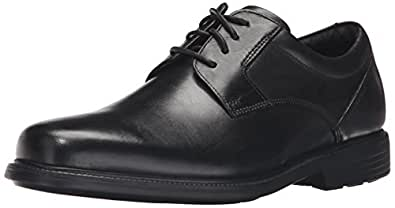 ROCKPORT Men's Charles Road Plain Toe Oxford Black Leather 6.5 W (EE)-6.5 W