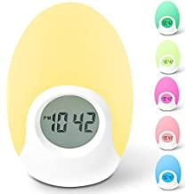 Alarm Clock, Awakelion Soft LED Color Changing Night Light Alarm Clock Bedside Lamp for Kids Bedroom,7 Colors, Tap Control, Easy Setting, Battery Powered