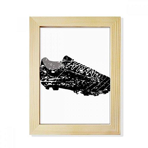 DIYthinker Black Football Shoes Pattern Soccer Desktop Wooden Photo Frame Picture Art Painting 6x8 inch by DIYthinker