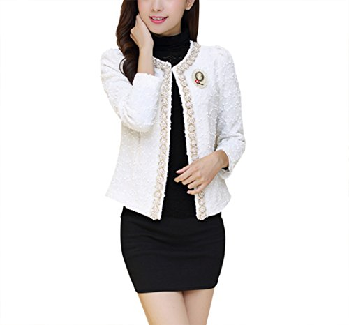 (NJunicorn Uncle Women Tweed Sequin Inlaid Long Sleeved Blazer Fly Away Fringe Jacket Coat Outwear(White)