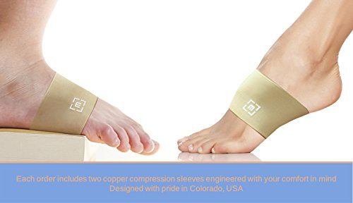 Copper Arch Support Sleeves (Pair) Compression Braces for Plantar Fasciitis, Low Arches, Flat Feet, Heel Spurs | Help Reduce Pain, Swelling | Breathable Orthotics | One Size Fits Most