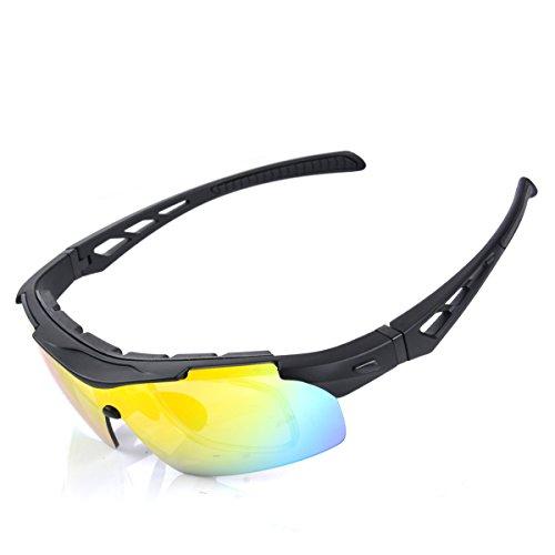 MATT SAGA Bike Cycling Glasses Polarized Sports Sunglasses for Men and Women with Strap Interchangeable Lens, Baseball Tennis Sunglasses Outdoor Protective Eyewear UV Protection - Rain Sunglasses