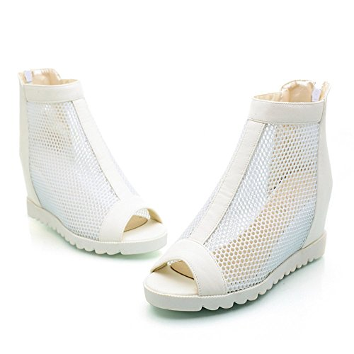 Oppicong Sneakers 2016 Summer Peep Toe Gauze Ventilate Women Sandals Hidden Heel Boots White8 B(M) US In Winter Comfortable