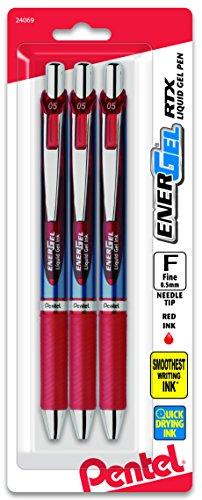 (Pentel EnerGel Deluxe RTX Retractable Liquid Gel Pen, 0.5mm, Needle Tip, Red Ink, 3 Pack (BLN75BP3B))