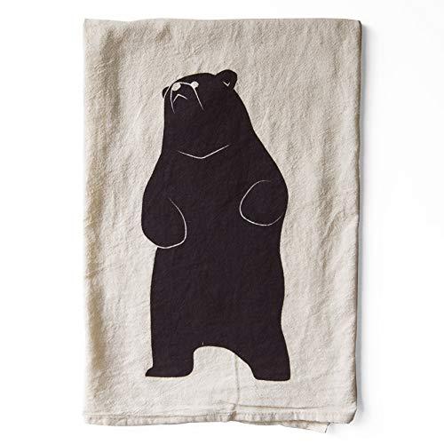 Printed Tea Towel - Brown Bear Screen Printed Flour Sack Tea Towel