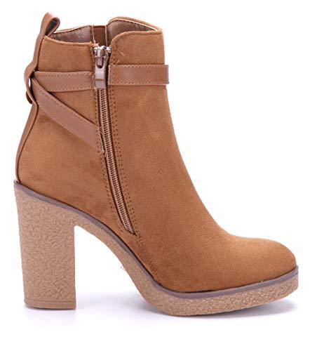 Schnalle Camel Schuhtempel24 Stiefel Klassische Schuhe cm Boots Blockabsatz Damen Camel Stiefeletten 8 xq104nw6q