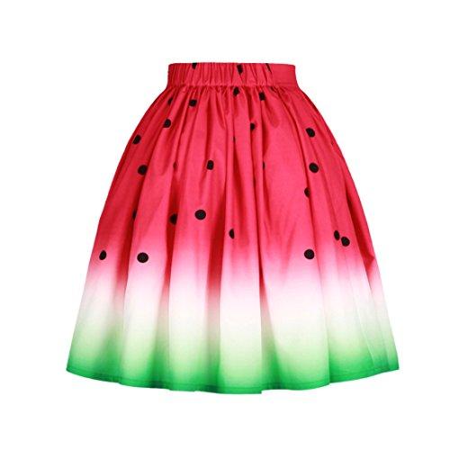 Soire Plage 1 Femme Plisse de Impression de YICHUN Jupe Skirt Jupe Pastque Robe Fille Jupe Line A Shorts Jupon d6qxxwpY