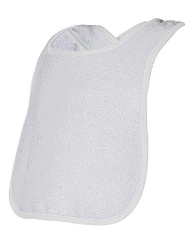 (Rabbit Skins 1003 Infant Snap Bib w/ Contrast Color Binding, White)