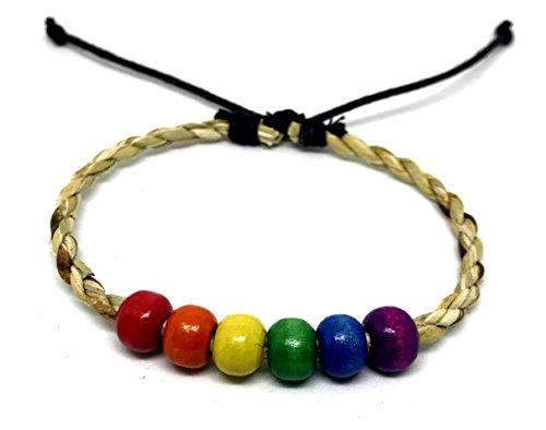 LAVIP Leather Natural Hemp Surfer Hawaiian Style Bracelet Handmade Rainbow Bracelet Plaided Hippie Braided Gay Pride