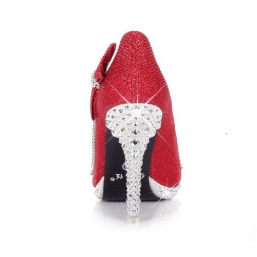 Charm Piede Moda Archi Womens Piattaforma Tacco Alto Stiletto Mary Jane Pump Rosso