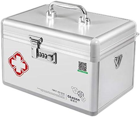 HXF- Medizin Box aluminiumlegierung haushaltsmedizin Box Medizin ambulant erste Hilfe medizinische Box aufbewahrungsbox Robust (Color : Silver, Size : L35.5CM)
