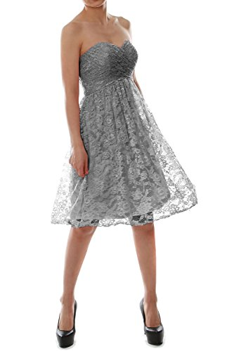 MACloth Strapless Short Lace Bridesmaid Dress Evening Cocktail Party Gown (26w, Gray)
