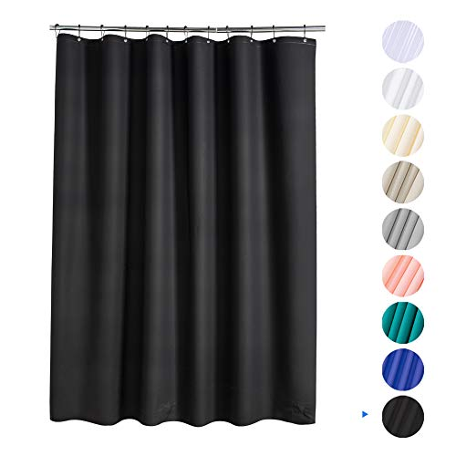 AmazerBath Plastic Shower Curtain, 72 W x 96 H EVA 8G Shower Curtain with Heavy Duty Clear Stones and Grommet Holes, Waterproof Thick Bathroom Plastic Shower Curtains Without Chemical Odor-Black