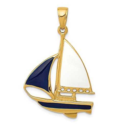 14k Yellow Gold 2 D Blue White Enameled Sailboat Pendant Charm Necklace Sea Shore Boating Fine Jewelry Gifts For Women For Her