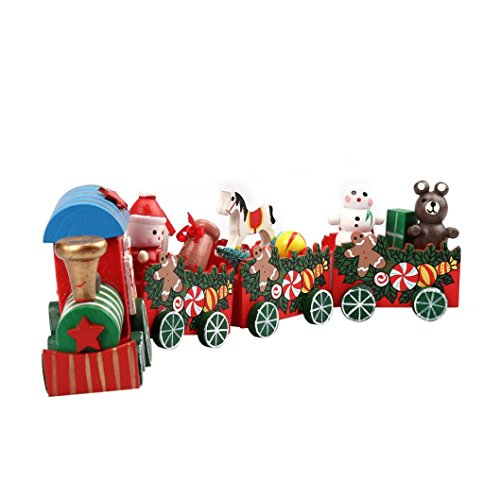 Han Shi Christmas Wood Train, 4 PCS Xmas Wood Toy Mini Tabletop Decoration Decor Gift (Rings Countdown Christmas)