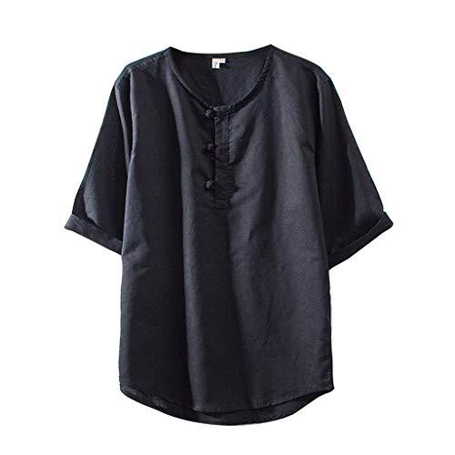 TOPUNDER Fashion Men's Cotton Linen Solid Color Short Sleeve Retro T Shirts Tops -