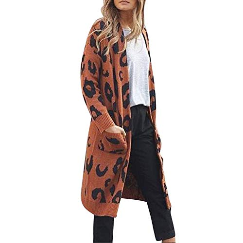 TOTOD Christmas Cardigans Women Sweater Knitwear Outwear Casual Warm Knitted Xmas Leopard Print Coat Tops -