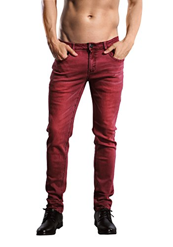 Classic Look Slim Jeans (ZLZ Slim Fit Jeans, Men's Younger-Looking Fashionable colorful Super Comfy Stretch Skinny Fit Denim Jeans (28, Purplish Red))