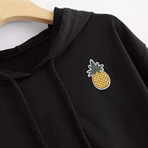 Blusa Mujer de tops temporada estampado Sonnena moda Tops mujer apliques fashion Sudadera Camiseta calle NEGRO cálida blusa streetwear piña Larga capucha de casual de para con Manga y TrqxYBT