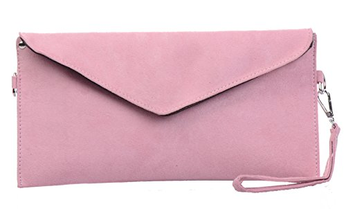 Tedim Soft Faux Suede Pink Envelope Clutch Handbag Lined Suede Shoulder Bag