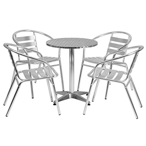 MFO 23.5'' Round Aluminum Indoor-Outdoor Table with 4 Slat Back Chairs