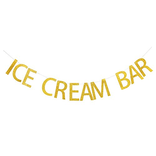 Ice Cream Bar Banner, Gold Gliter Paper Sign Decors for Ice Cream Theme Party/Birthday/Wedding/Engagement/Baby Shower Party -