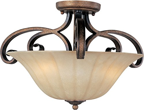 Maxim Lighting 22241WSPD Fremont 3-Light Semi-Flush Mount, Platinum Dusk Finish with Wilshire Glass Shade