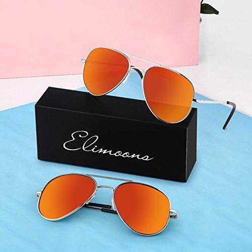 05 Hombre Lente Polarizadas de UV Protección Aviador de 400 Elimoons Sol naranja Mujer Gafas Z7Swgq