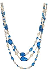 "Multi-Strand Faux-pearl and Glass Bead Layered Necklace with Lobster Clasp, 18"" + 2"" ext (Gift-Ready)"