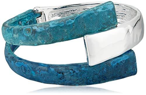 Robert Lee Morris Soho Women's Patina Sculptural Bypass Hinged Bangle Bracelet, Dark Blue, One Size