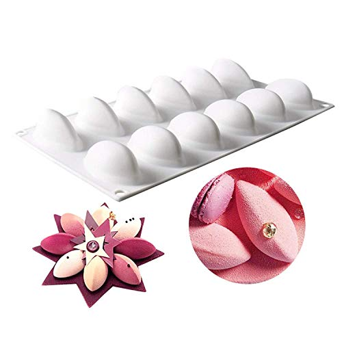 Silicone Molds Mango Quenelles Shape Baking Tools for Cake Chocolate Ice Cream Bombe Dessert Molds,12-Cavity