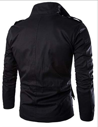 Pocket Jacket Black EKU Collar Jacket Men's Active Stand Pure Cotton Multi w64qY1I4x