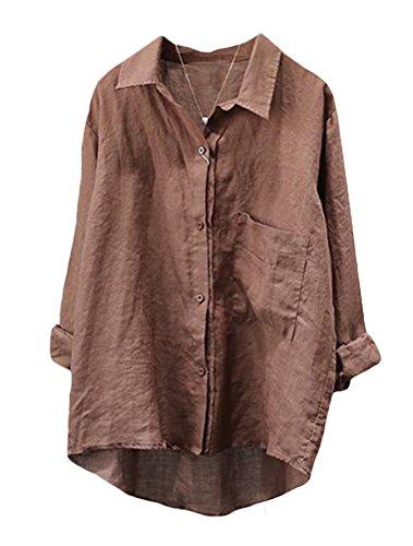Minibee Women's Casual Cotton Linen Blouse High Low Shirt Long Sleeve Tops (M, Coffee)