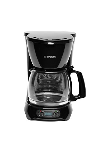 Chefman 12 Cup Programmable Coffee Maker with Thermal Drip Free Carafe, Pause & Serve & Auto Shut Off Safety Features, Permanent Filter, Black
