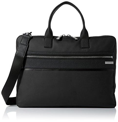 Calvin Klein Men's Nylon with Saffiano Trim Slim Attache, Black by Calvin Klein