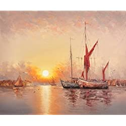 Oil Painting 'Sunset Seascape With Sailing Ships And Sea Gulls' Printing On High Quality Polyster Canvas , 10x12 Inch / 25x31 Cm ,the Best Powder Room Gallery Art And Home Decoration And Gifts Is This Beautiful Art Decorative Canvas Prints