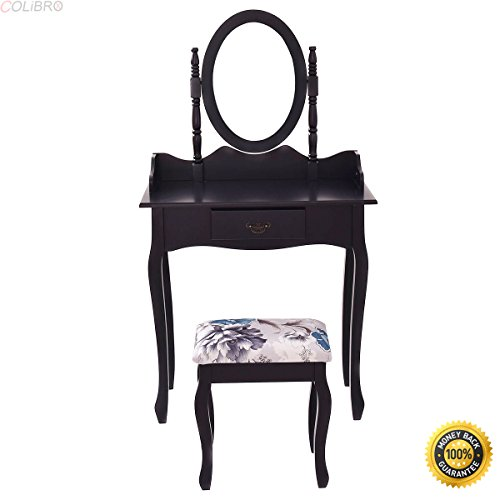 COLIBROX--Black Vanity Wood Makeup Dressing Table Stool Set Jewelry Desk W/ Drawer &Mirror,cheap makeup vanity,Black vanity makeup table and stool set,modern makeup vanity,vanity sets (Cheap Dresser And Mirror Set)