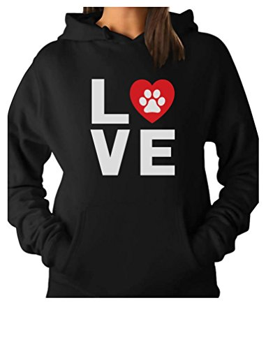 TeeStars - Animal Lover Dog Paw Print - Love Dogs My Best Friend Women Hoodie X-Large Black