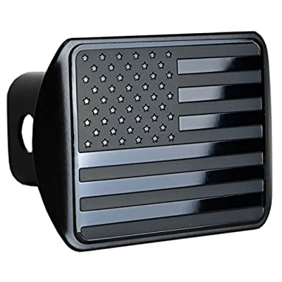 eVerHITCH USA US American Stainless Steel Flag Metal Emblem on Metal Trailer Hitch Cover (Fits 2